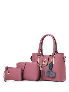 Metal Faux Leather Twist-Lock Tote Bag - Deep Pink