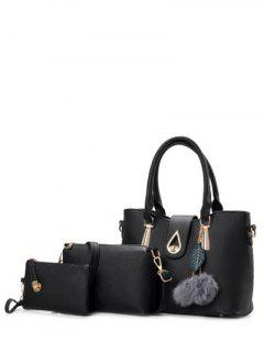 Metal Faux Leather Twist-Lock Tote Bag - Black