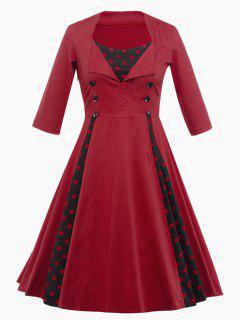 Vintage Polka Dot Insert Swing Dress - Deep Red 2xl