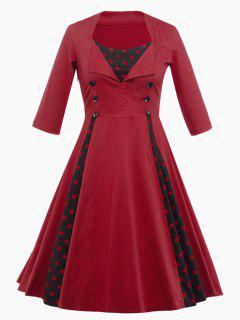 Vintage Polka Dot Insert Swing Dress - Deep Red M