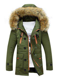 Faux Fur Hooded Zip Up Multi-Pocket Padded Coat - Army Green L