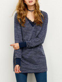 Weites Sweatshirt Mit Spitze Spleiß - Blau 2xl