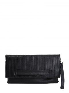 Stripe PU Leather Magnetic Closure Clutch Bag - Black