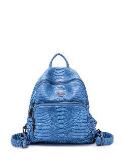 Sac à Dos En Cuir Faux Avec Gaufrage De Crocodile - Bleu