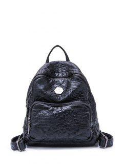 Crocodile Embossing PU Leather Backpack - Black