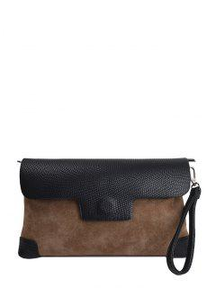 Magnetic Closure PU Leather Embossing Cluth Bag - Light Brown