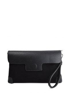 Magnetic Closure PU Leather Embossing Cluth Bag - Black