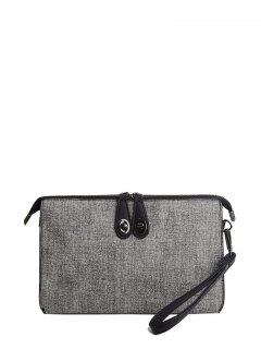 Twist-Lock Zipper Textured Leather Clutch Bag - Light Gray