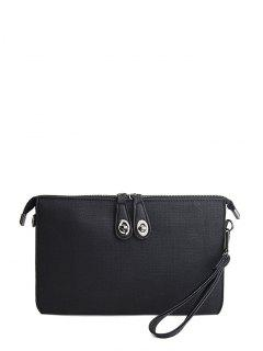 Twist-Lock Zipper Textured Leather Clutch Bag - Black