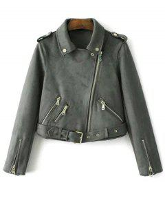 Lapel Collar Suede Jacket With Zipper - Olive Green Xs