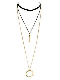 Circle Layered Necklace - Golden