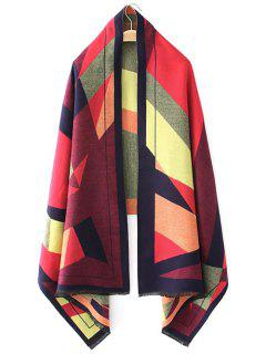 Geometric Jacquard Knitted Poncho - Red