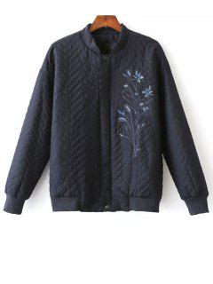 Herringbone Quilted Embroidered Jacket - Purplish Blue S