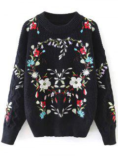 Floral Embroidered Chunky Jumper - Black