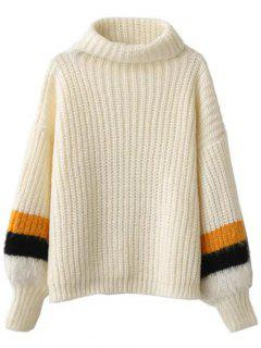 Striped Puff Sleeve Turtleneck Sweater - Off-white