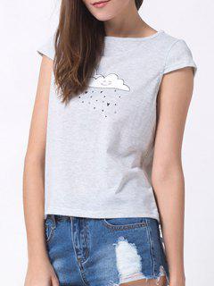 Casual Cartoon Print T-Shirt - Gray Xs