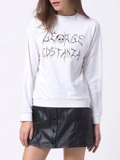 Sweat-shirt Imprimé Grande Taille - Blanc Xs