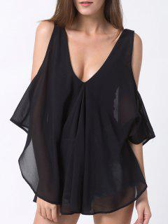 Plunging Neck Layered Bodysuit - Black Xs
