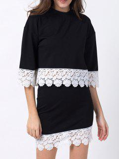 Crew Neck Lace Panel T-Shirt With Mini Skirt - Black Xs