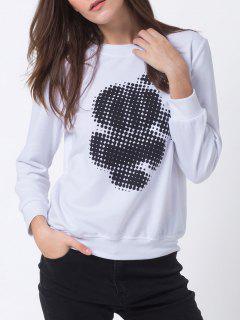 Sweatshirt à Pois Ras Du Cou - Blanc Xs