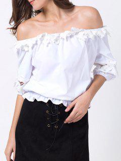 T-shirt Décolleté En Dentelle - Blanc Xs