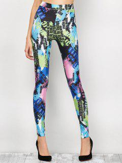High Waist Tie-Dyed Figure Leggings - Blue S