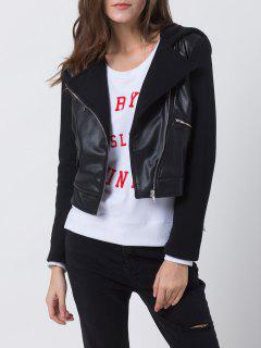 PU Leather Panel Biker Jacket - Black Xs