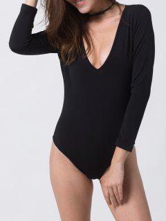 Fitted Long Sleeve Plunge Bodysuit - Black Xs