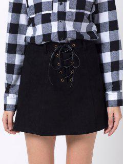 Mini Falda Gamuza Línea Vertical - Negro Xs