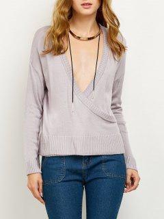 Suéter Cuello En V Tejido - Gris Púrpura S