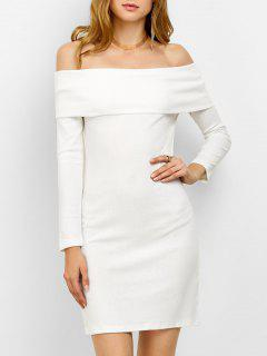 Off The Shoulder Mini Bodycon Party Dress - White M