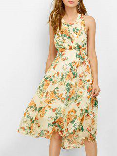 Floral Cut Out Beach Dress - Beige S
