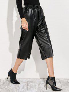 Pantalones Capri Cuero PU  - Negro