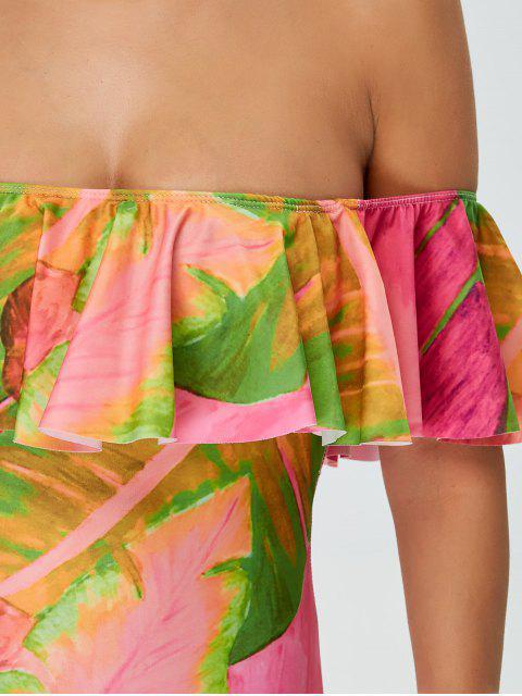 shops Ruffles Off Shoulder Leaf Print Swimwear - COLORMIX L Mobile