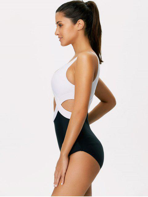 women's Color Block Cut Out Swimsuit - WHITE AND BLACK XL Mobile