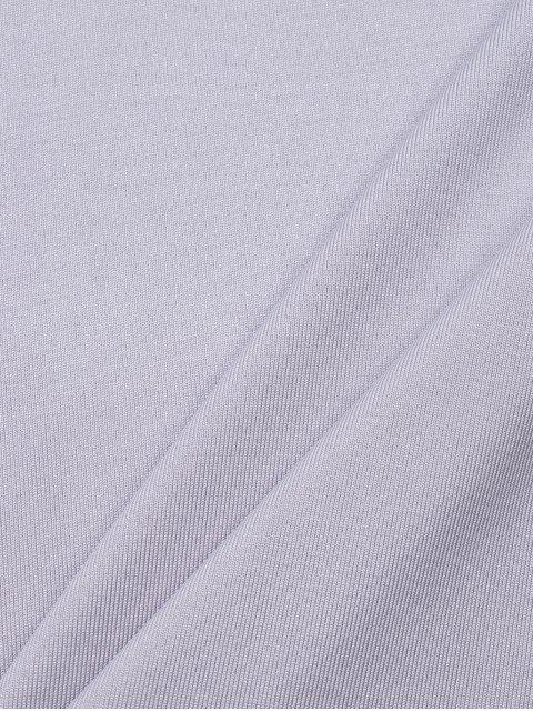 T-shirt moulant à col debout à manches forme lanterne - Gris L Mobile