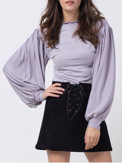 women's Lantern Sleeve Fitted T-Shirt - GRAY L Mobile