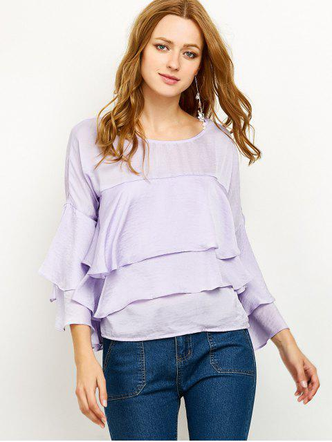 fashion Jewel Neck Ruffles Layered Blouse - LIGHT PURPLE S Mobile