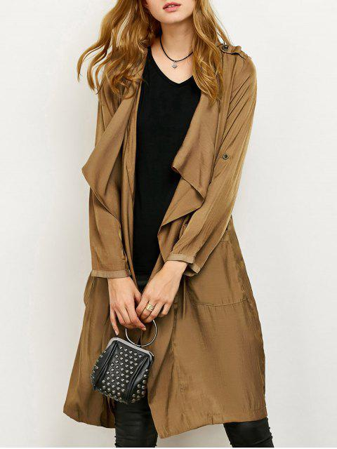 hot Drape Front Long Duster Coat - DARK KHAKI S Mobile