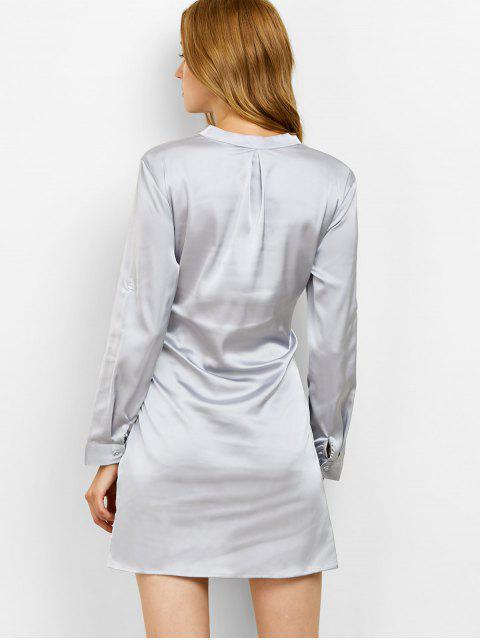 buy Tied Stand Neck Satin Shirt Dress - GRAY L Mobile