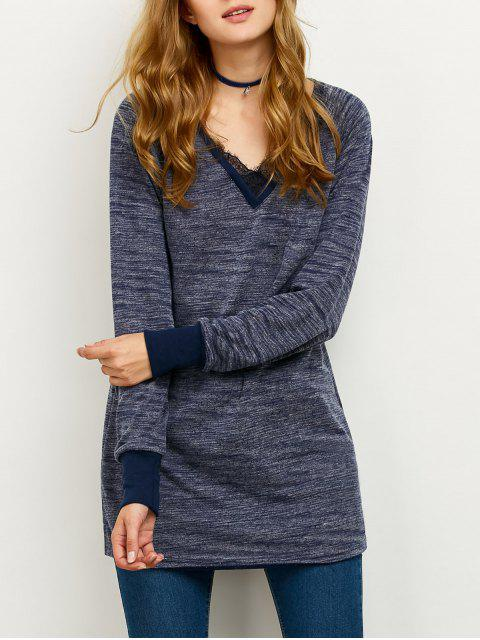 outfits Loose Lace Spliced Sweatshirt - BLUE 2XL Mobile