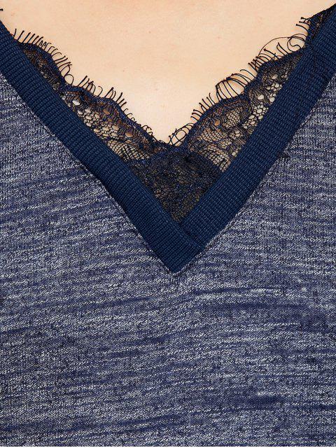 lady Loose Lace Spliced Sweatshirt - BLUE S Mobile