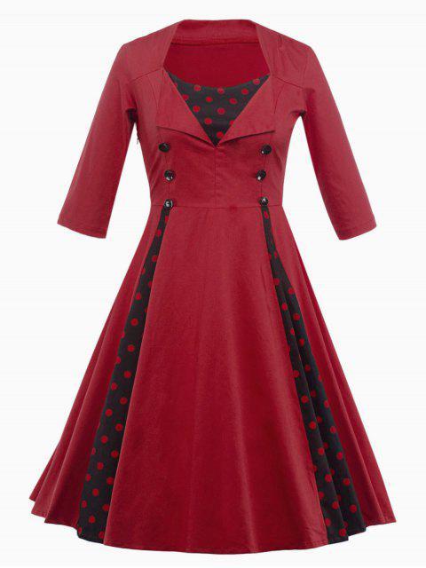 Vestido Paneles Diseño Vintage Puntos - Rojo oscuro M Mobile