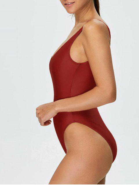 best High Cut Backless Swimsuit - RED L Mobile