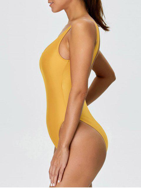 高切露背泳裝 - 黃色 XS Mobile