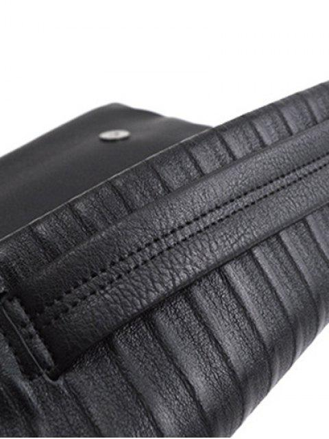 ladies Stripe PU Leather Magnetic Closure Clutch Bag - BLACK  Mobile