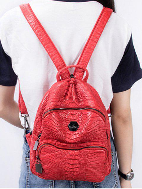 hot Crocodile Embossing PU Leather Backpack - RED  Mobile