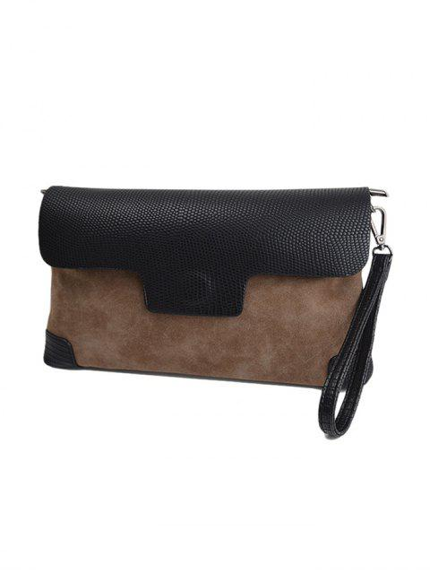 lady Magnetic Closure PU Leather Embossing Cluth Bag - LIGHT BROWN  Mobile