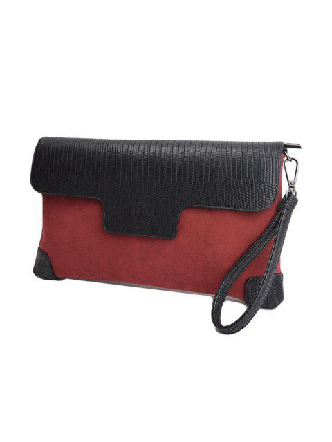 online Magnetic Closure PU Leather Embossing Cluth Bag - CLARET  Mobile