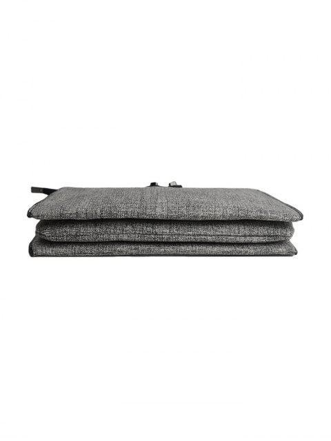 hot Twist-Lock Zipper Textured Leather Clutch Bag - LIGHT GRAY  Mobile